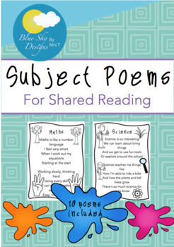 Subject Poem Set for Shared Reading