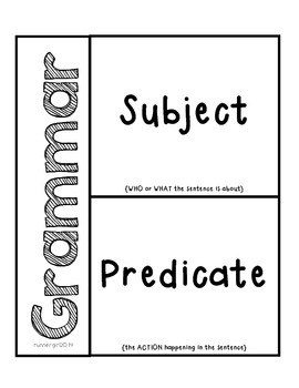 Grammar- Subjects & Predicates Activity for Interactive Notebooks