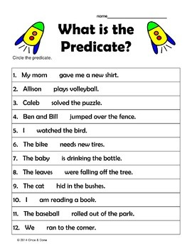Subject Predicate Center Activity Bundle 3 Centers Included