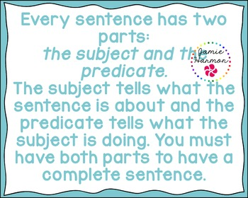 Subject & Predicate Chart Set