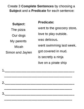 Subject & Predicate Complete Sentence Work Sheets