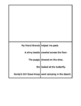 Subject Predicate Foldable for Interactive Notebooks