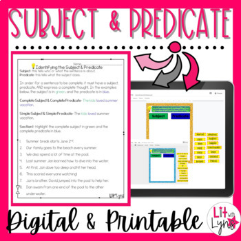 Subject & Predicate- Google Drive Activities