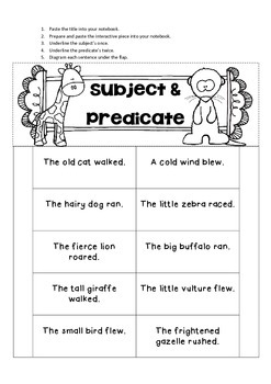 Subject & Predicate Interactive Notebook