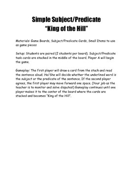 """Subject/Predicate """"King of the Hill"""""""