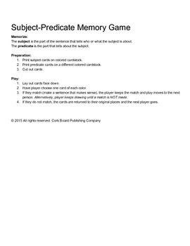 Subject Predicate Memory Game