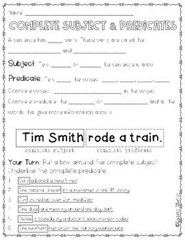 Subject Predicate Mini-Lesson Resources