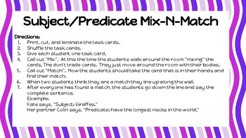 Subject/Predicate Mix-N-Match Game