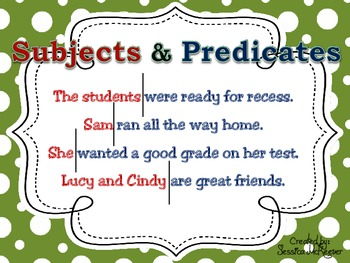 Subject & Predicate POSTERS for the Classroom