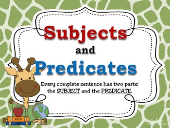 Subject & Predicate POSTERS for the Classroom: Colorful Giraffe Theme