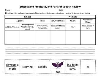 Subject, Predicate, Parts of Speech, Building Sentences