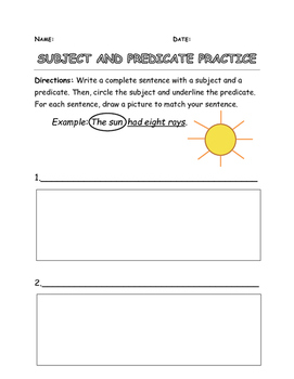 Subject Predicate Practice
