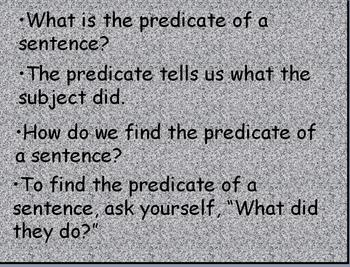 Subject Predicate REview / Practice Power Point
