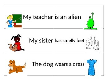 Subject Predicate Sentence Building Cards and Center Answer Sheet