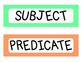 Subject Predicate Sentence Match Up