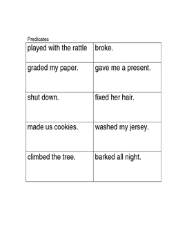 Subject/Predicate Sentence Station