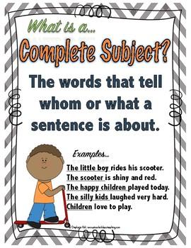 Grammar - Subject & Predicate Sentences Activities - Common Core Aligned