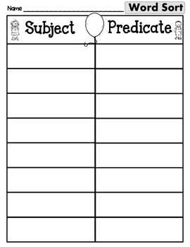 Subject Predicate Sort Set 12