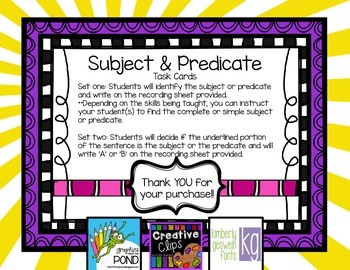Subject & Predicate Task Cards