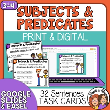 Subject-Predicate Task Cards for Complete and Simple
