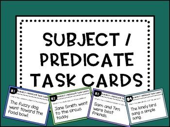 Subject / Predicate Task Cards