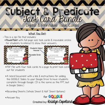 Subject & Predicate Task Cards Bundle