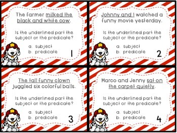 Subject Predicate Task Cards Scoot