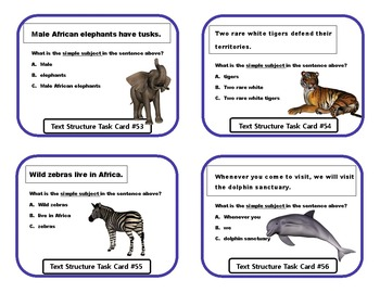 Subject / Predicate Task Cards and Game Boards-All Animal Themed!!!