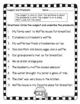 Subject Predicate Task Cards or Scoot