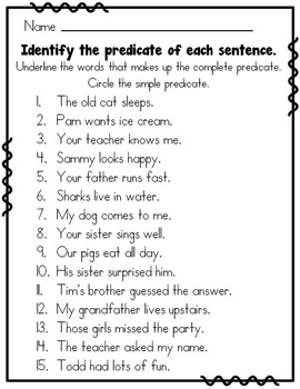 Subject Predicate 2nd Grade By Rock Paper Scissors Tpt