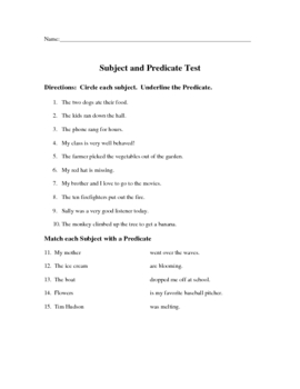 Subject Predicate Test