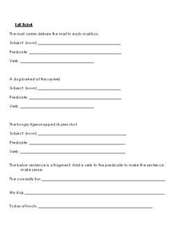 Subject Predicate Verb Lesson Worksheet