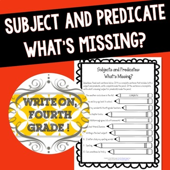 simple and complete subjects and predicates worksheet