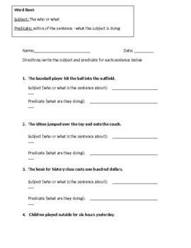 Subject Predicate Worksheet 2