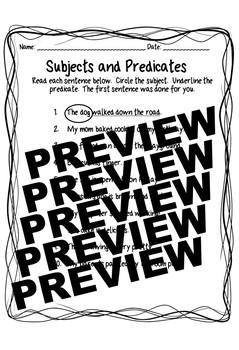 Subject/Predicate Worksheet