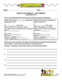 Subject & Predicate Worksheet Packet and Lesson Plan - 8 pages plus answer key
