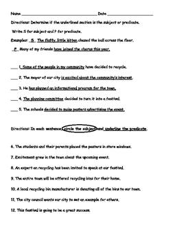Subject Predicate Worksheet/Quiz/Practice/Review