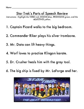 Subject Predicate and Parts of Speech Star Trek Style