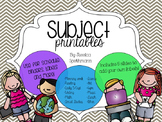 Subject Printables