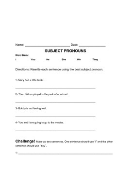 Subject Pronoun Bundle of Three Worksheets