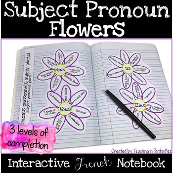 Subject Pronoun Flowers - French Interactive Notebook