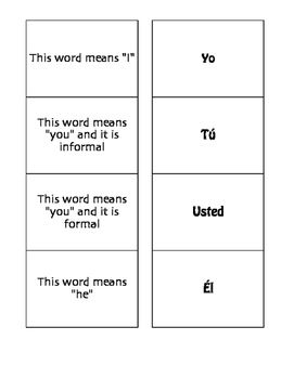 Spanish Subject Pronoun Matching Game