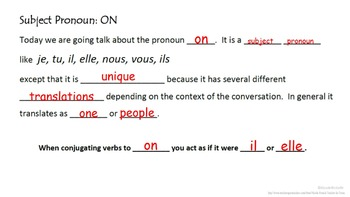 "Subject Pronoun ""On"" with All Subject Pronoun Review: French Quick Lesson"