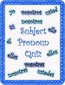 Subject Pronoun Quiz
