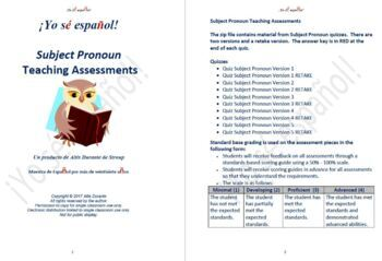 Subject Pronoun Quizzes  Teaching Material