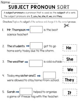 Subject Pronoun Sort