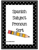 Subject Pronoun Sort Spanish