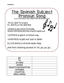 Subject Pronoun Spanish Song Lyrics and Activity