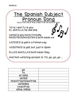 Subject Pronoun Spanish Song Lyrics and Activity