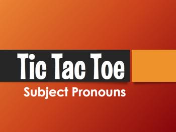 Spanish Subject Pronoun Tic Tac Toe Partner Game